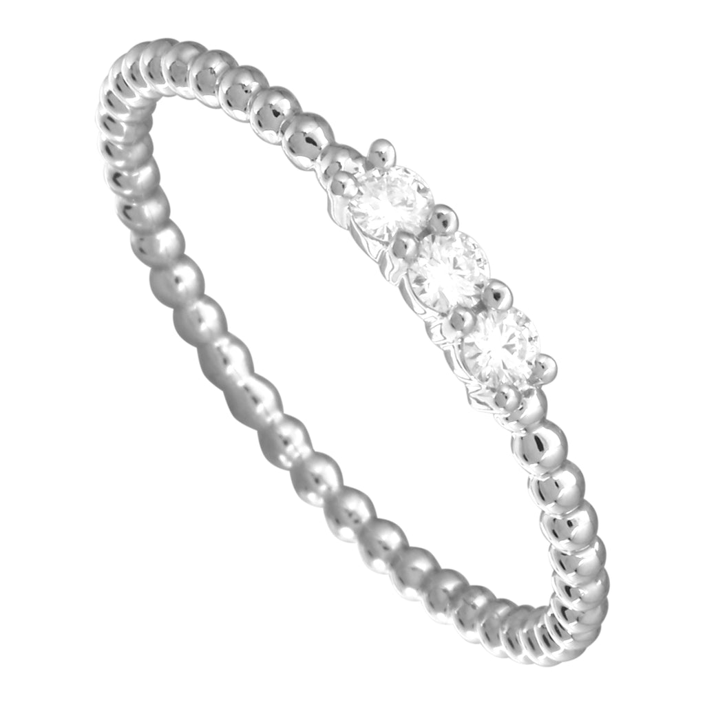 14k White Gold Diamond Accent Trio Beaded Band Ring (1/10 cttw, J-K Color, SI2-I1 Clarity)