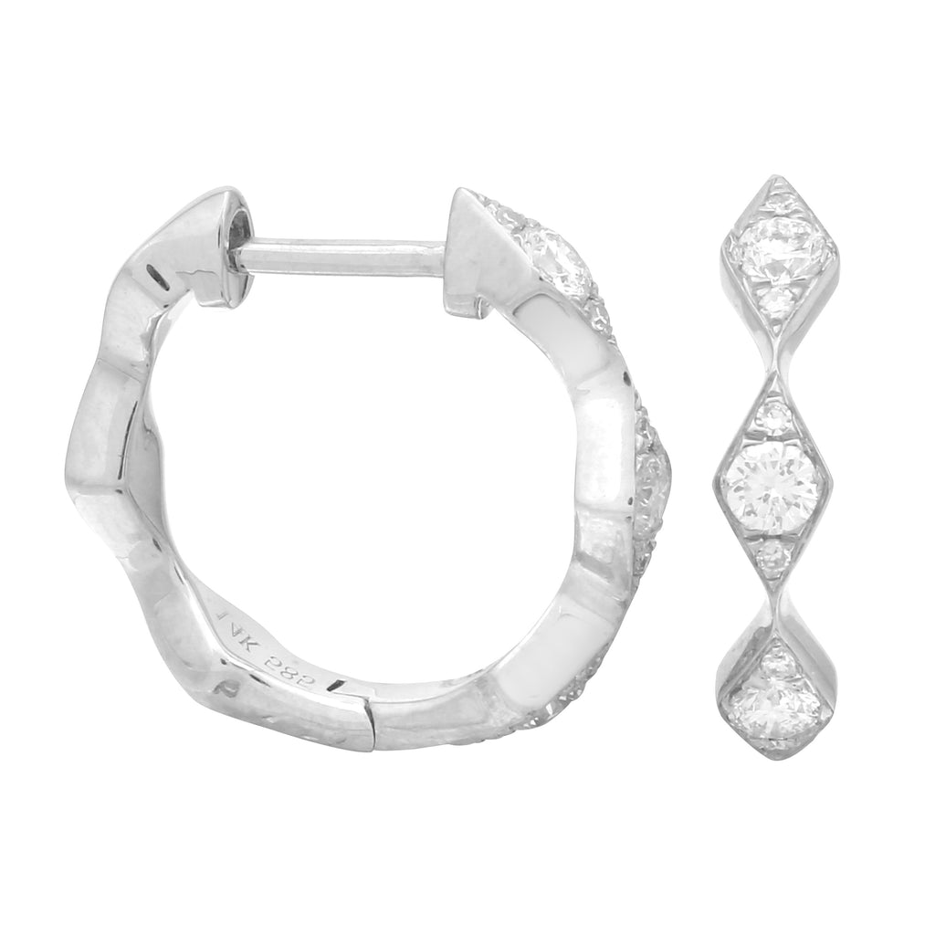 14k White Gold Diamond Argyle Hoop Earrings (1/4 cttw, H-I Color, I2-I3 Clarity), 10.5mm Diameter