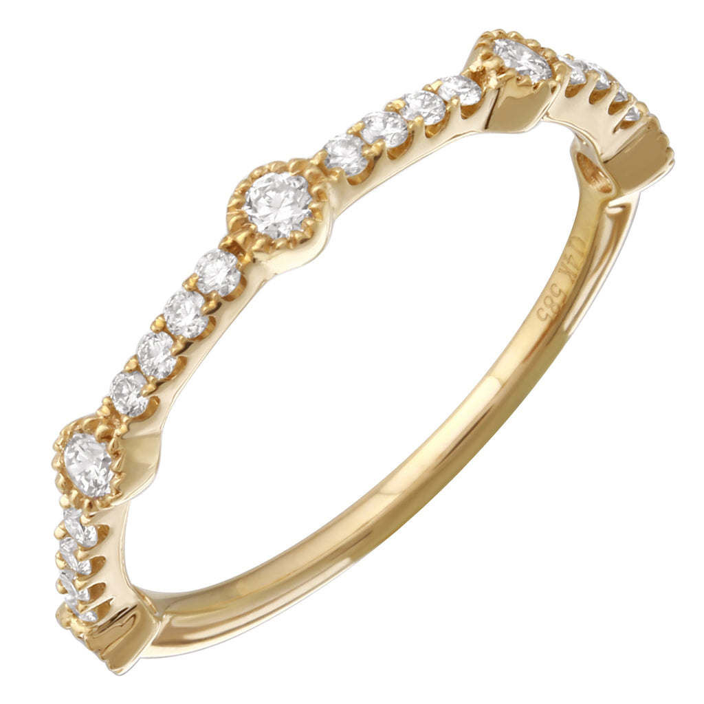 14k Yellow Gold Diamond Pave Segmented Band Ring (1/3 cttw, J-K Color, SI2-I1 Clarity)