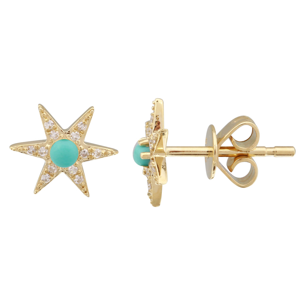 14k Yellow Gold Diamond Star Turquoise Bead Stud Earrings (1/20 cttw, H-I Color, I2-I3 Clarity)