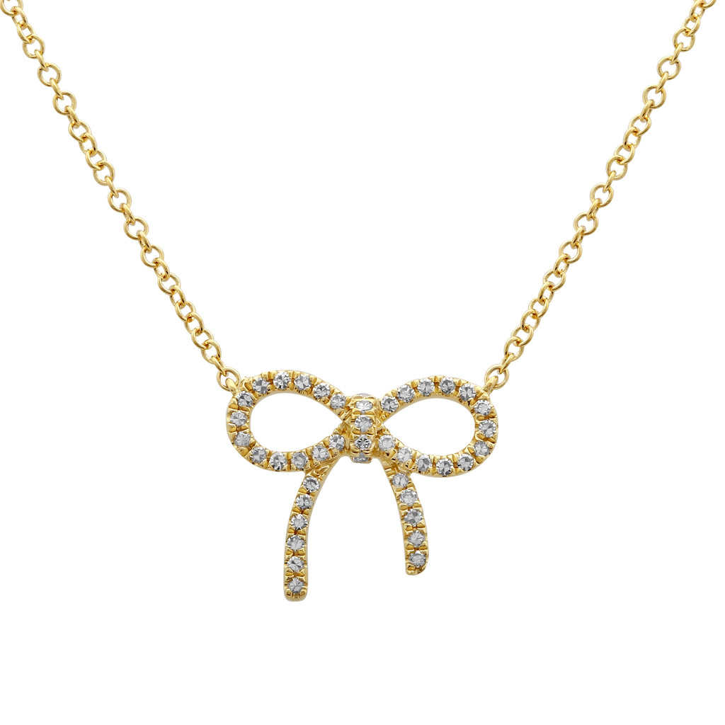 14k Yellow Gold Diamond Floating Gift Bow Pendant Necklace (1/8 cttw), 16+2""