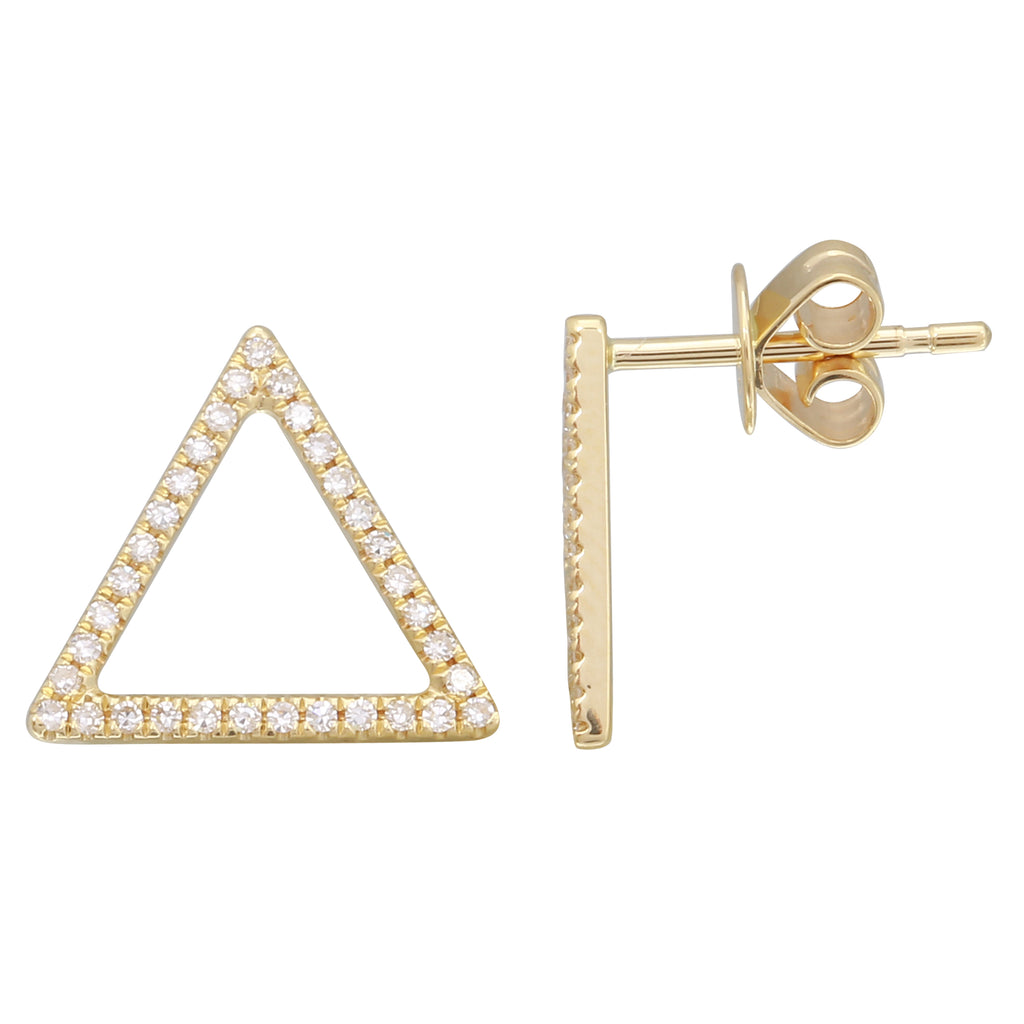 """Remark"" 14k Yellow Gold Diamond Pave Open Triangle Stud Earrings (1/6 cttw, H-I Color, I1-I2 Clarity)"
