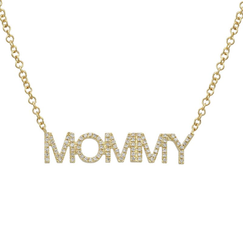 "14k Yellow Gold Diamond Mommy Pendant Necklace (1/5 cttw), 16-18"" Adjustable"