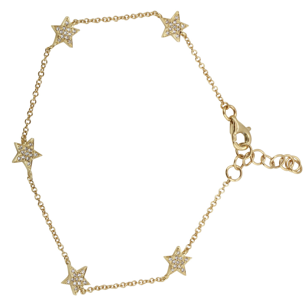 """Remark"" 14k Yellow Gold Diamond Pave Star Charm Bracelet (1/8 cttw, H-I Color, I1-I2 Clarity), 6+1"" Extender"