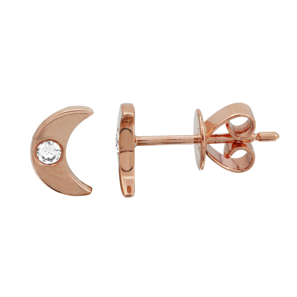 14k Rose Gold Diamond Bezel Moon Stud Earrings (1/20 cttw, H-I Color, I2-I3 Clarity)