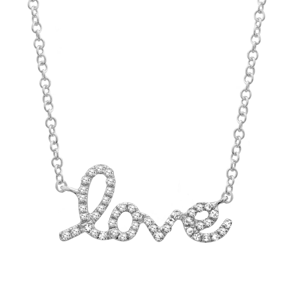 "14k White Gold Diamond Pave Cursive Love Pendant Necklace (1/10 cttw, H-I Color, I1-I2 Clarity), 16+2"" Extender"