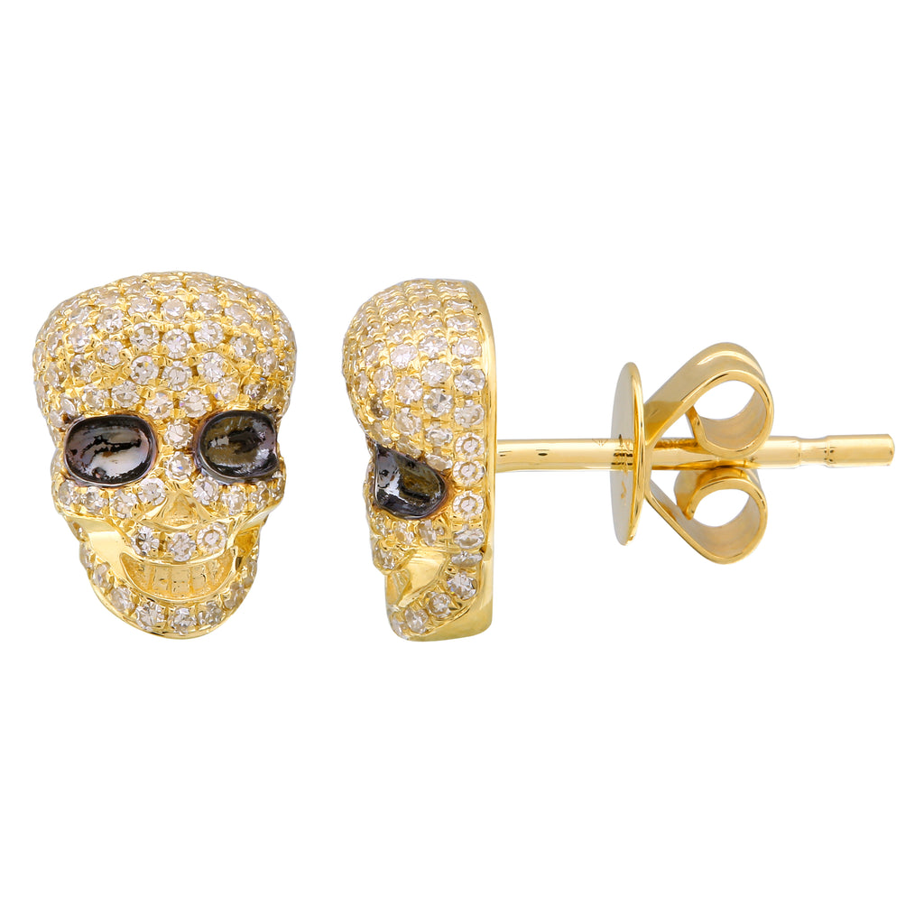 14k Yellow Gold Diamond Skull Stud Earrings (3/8 cttw, H-I Color, I2-I3 Clarity)