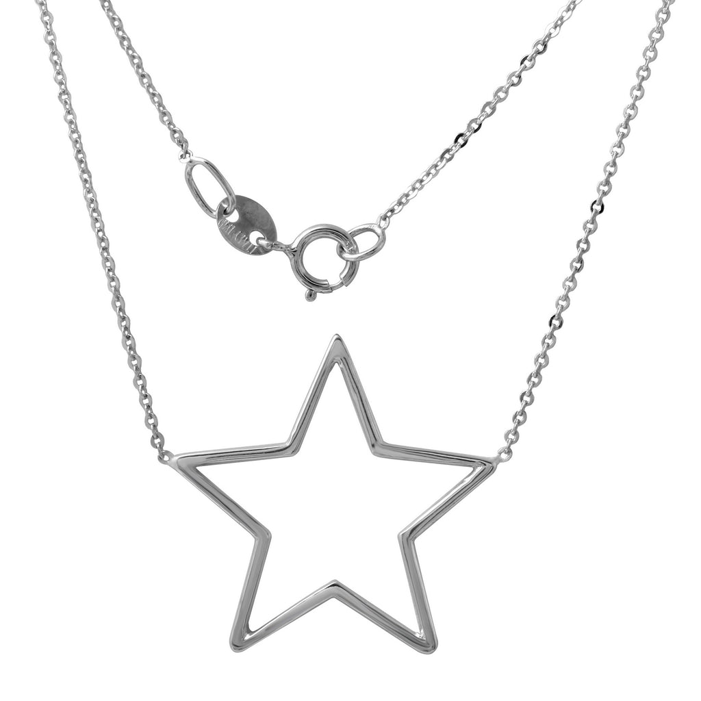 "14k White Gold Italian Open Star Pendant Necklace, 16+2"" Extender"