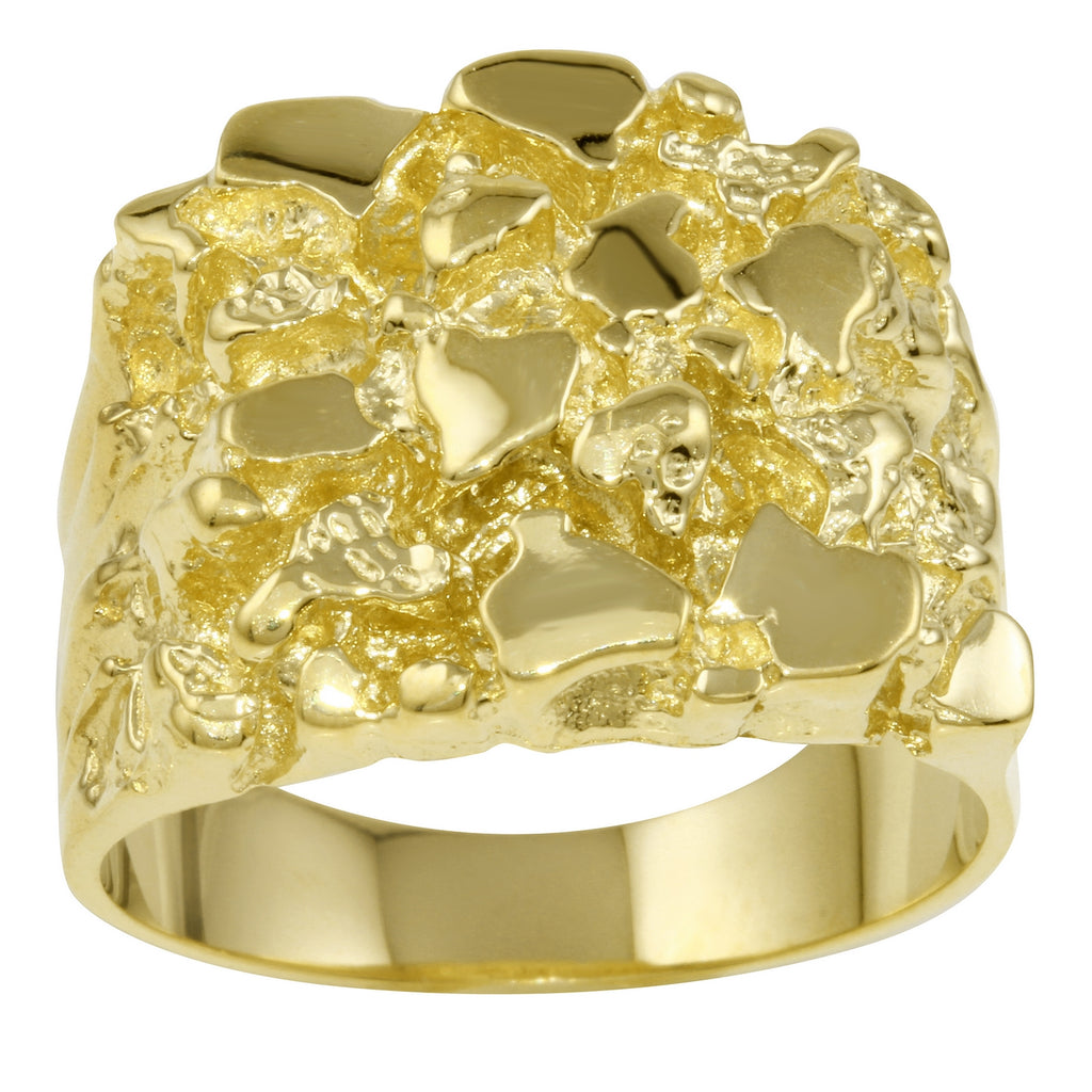 Men's Solid 14k Yellow Gold Nugget Diamond-Cut Ring, Size 10