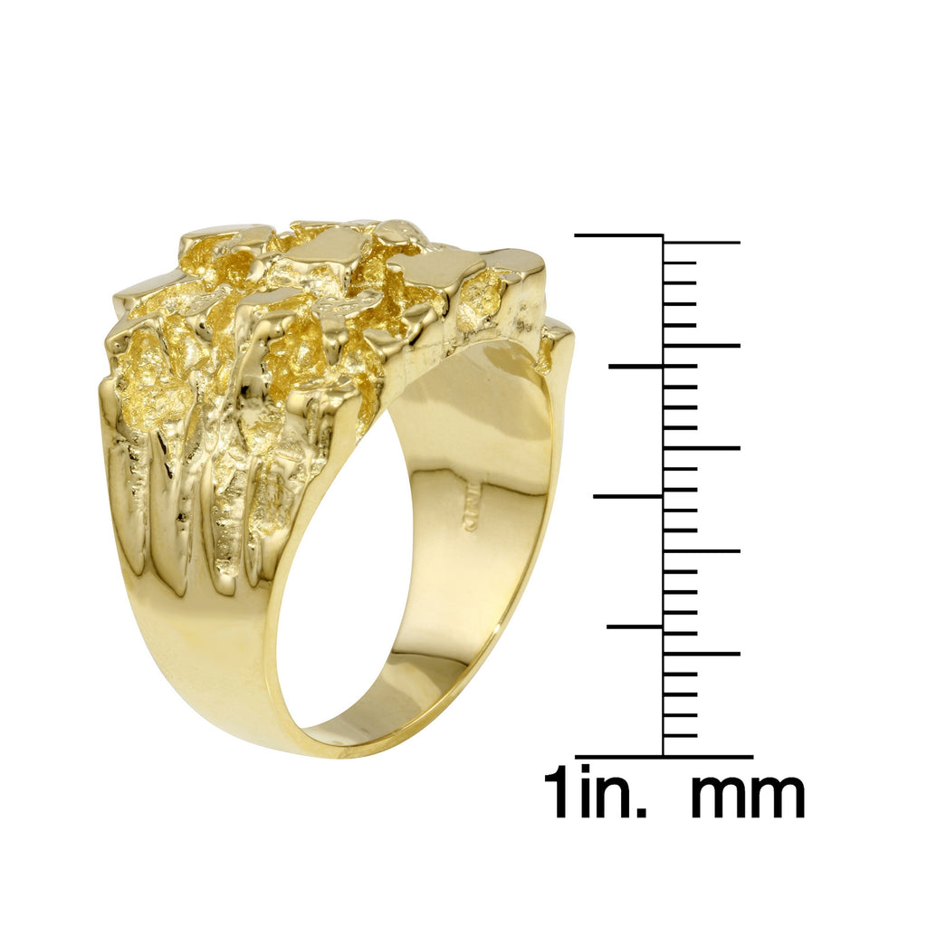Men's Solid 14k Yellow Gold Nugget Diamond-Cut Ring