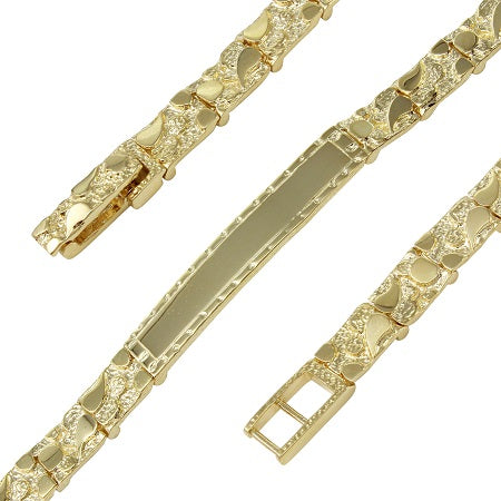 Men's 14k Yellow Gold 6.9mm Nugget Identification Bracelet, 8.5""