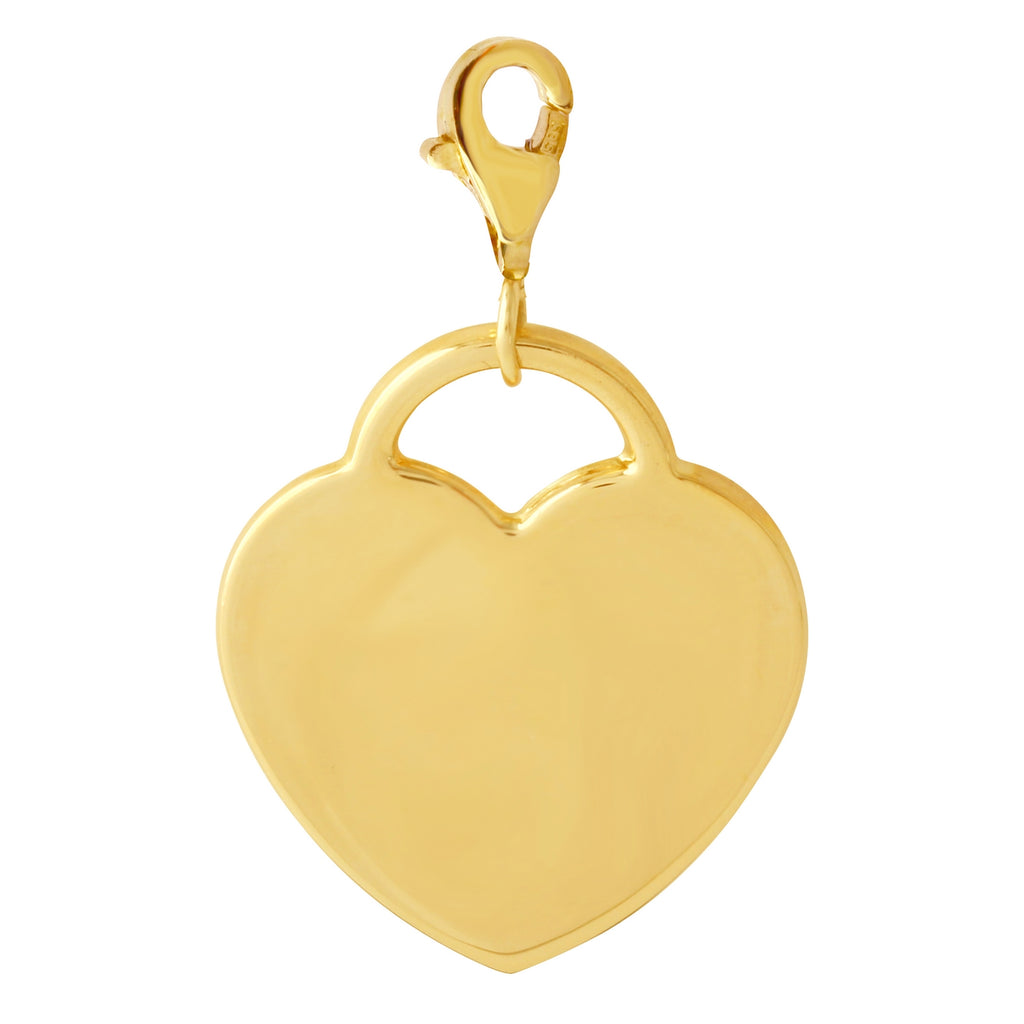 14k Yellow Gold Personalized Engravable Heart Necklace Charm Pendant