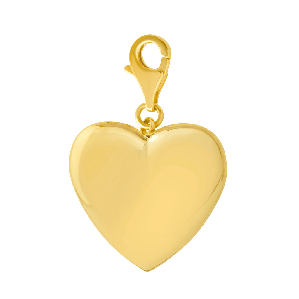 14k Yellow Gold High Polish Heart Necklace Charm Pendant