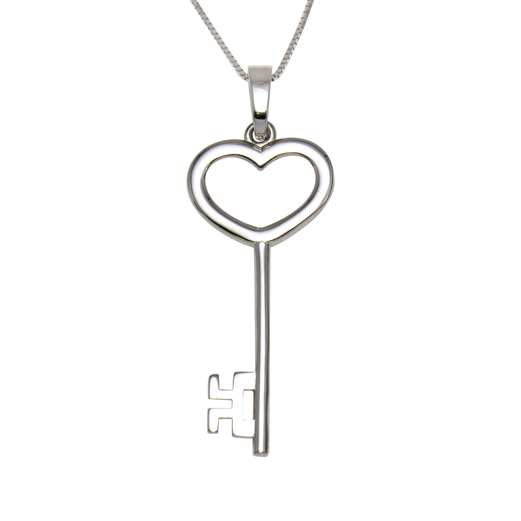 14k Gold Dangling Heart Key Pendant Necklace, 18""
