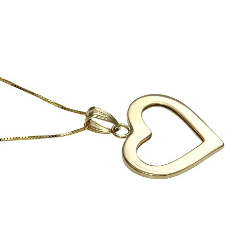 14k Yellow Gold Flat Open Heart Pendant Necklace, 18""