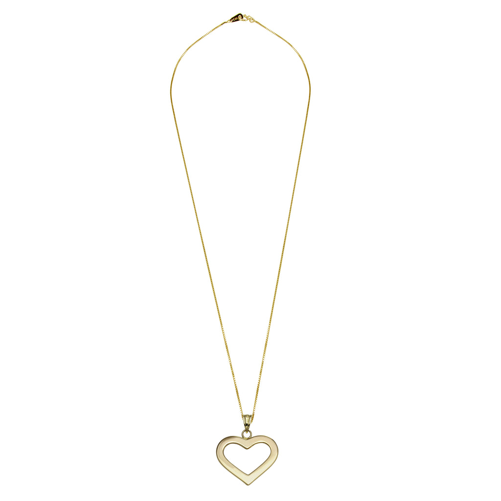 "14k Yellow Gold Flat Open Heart Pendant Necklace, 18"" - Bee Jewels"