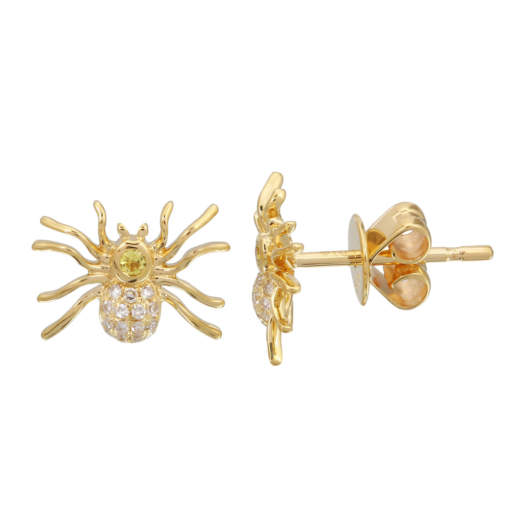 14k Yellow Gold Sapphire Diamond Spider Stud Earrings (1/20 cttw, I-J Color, I2-I3 Clarity)