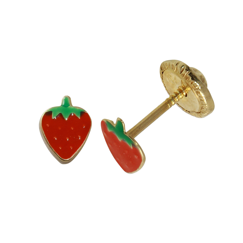 14k Yellow Gold Strawberry Baby Screw-Back Stud Earrings