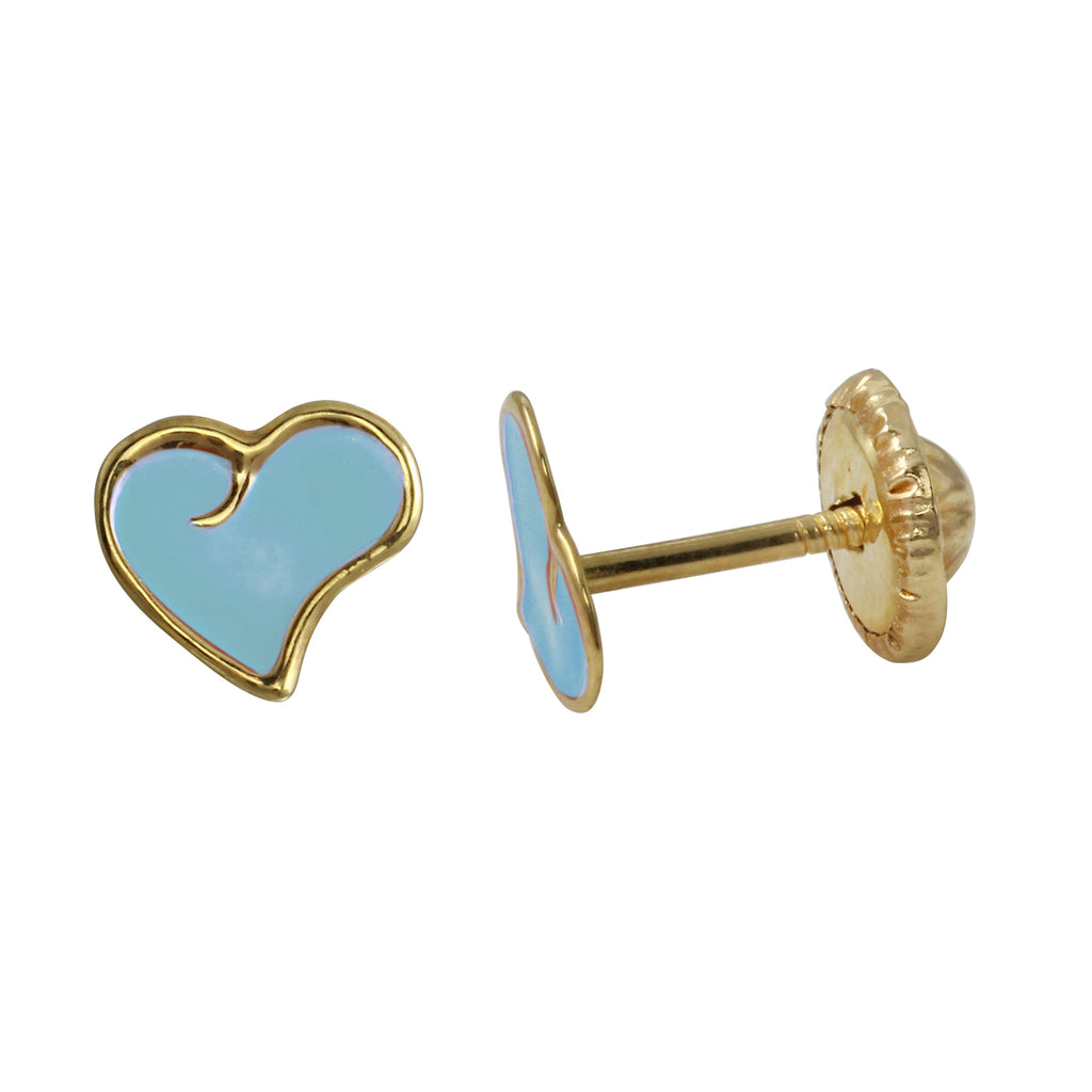 14k Yellow Gold Blue Heart Baby Screw-Back Stud Earrings - Bee Jewels
