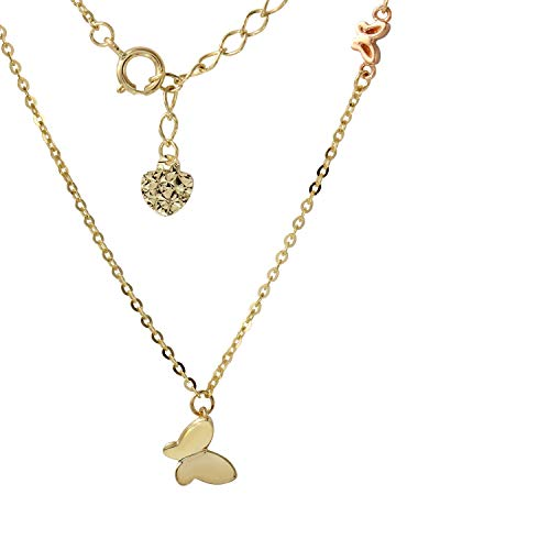 "14k Two-Tone Gold Graduated Butterfly Charms Pendant Necklace, 16+2"" Extender"