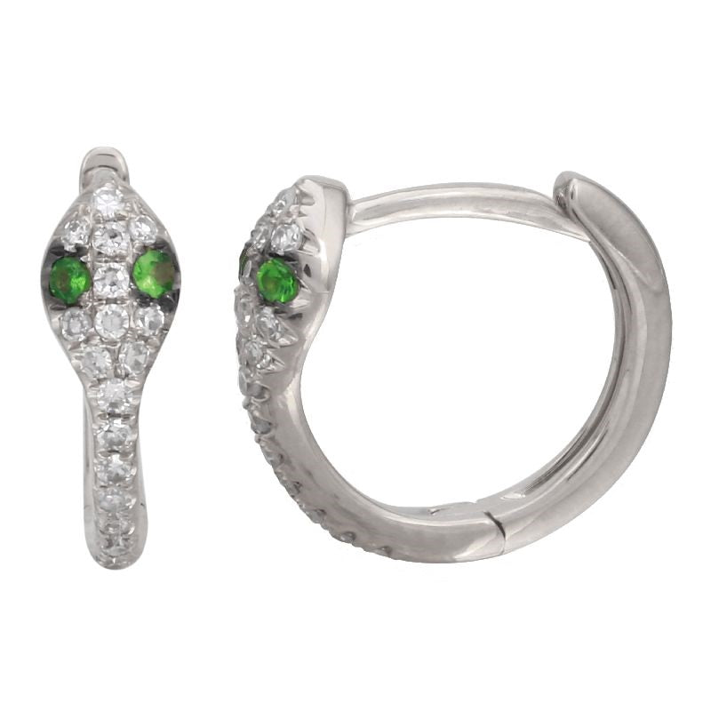14k White Gold Diamond Tsavorite Snake Huggie Hoop Earrings (1/10 carat), 11mm Diameter