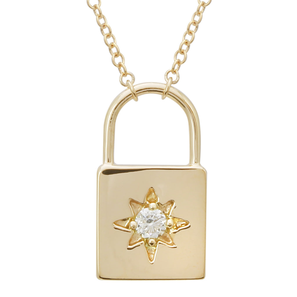 14k Yellow Gold Diamond Star Padlock Pendant Necklace (0.06 cttw, J-K Color, SI2-I1 Clarity), 14+2""