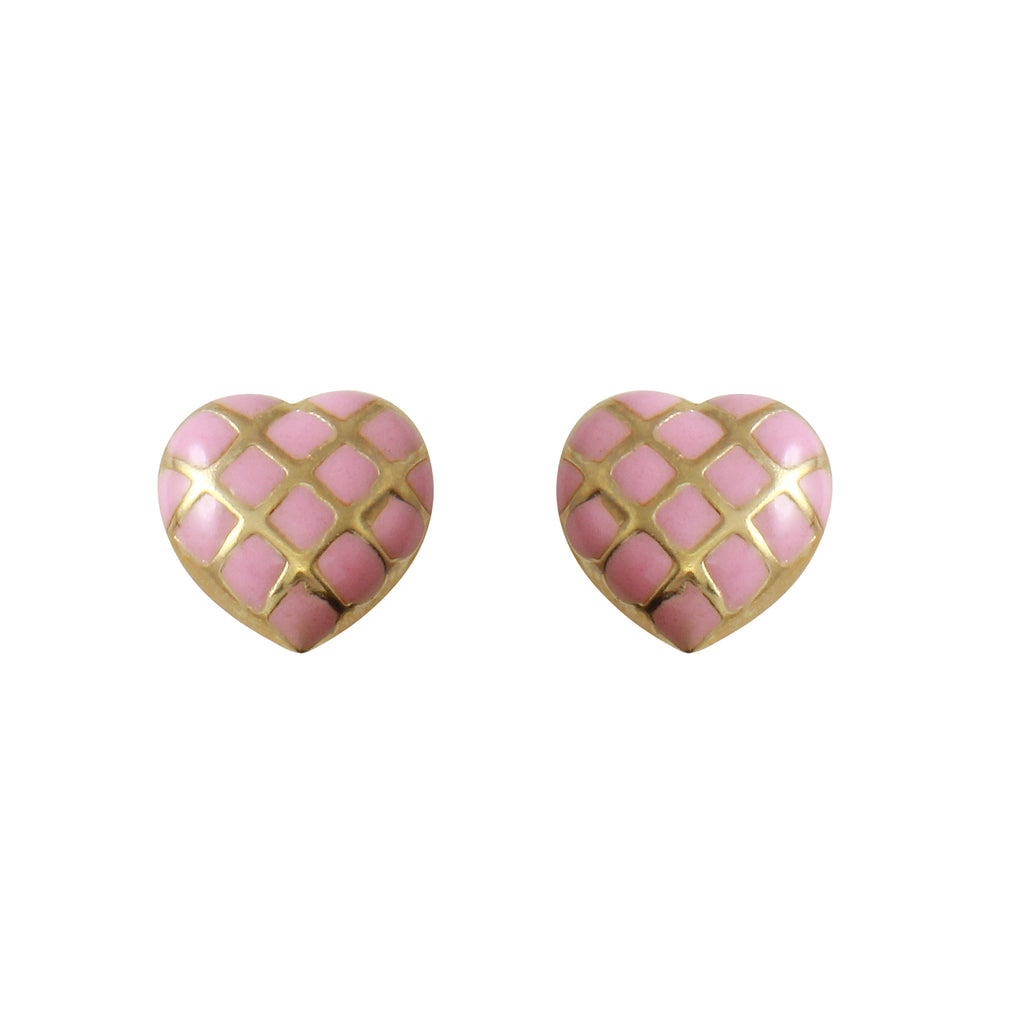 14k Yellow Gold Pink Argyle Hearts Baby Screw-Back Stud Earrings