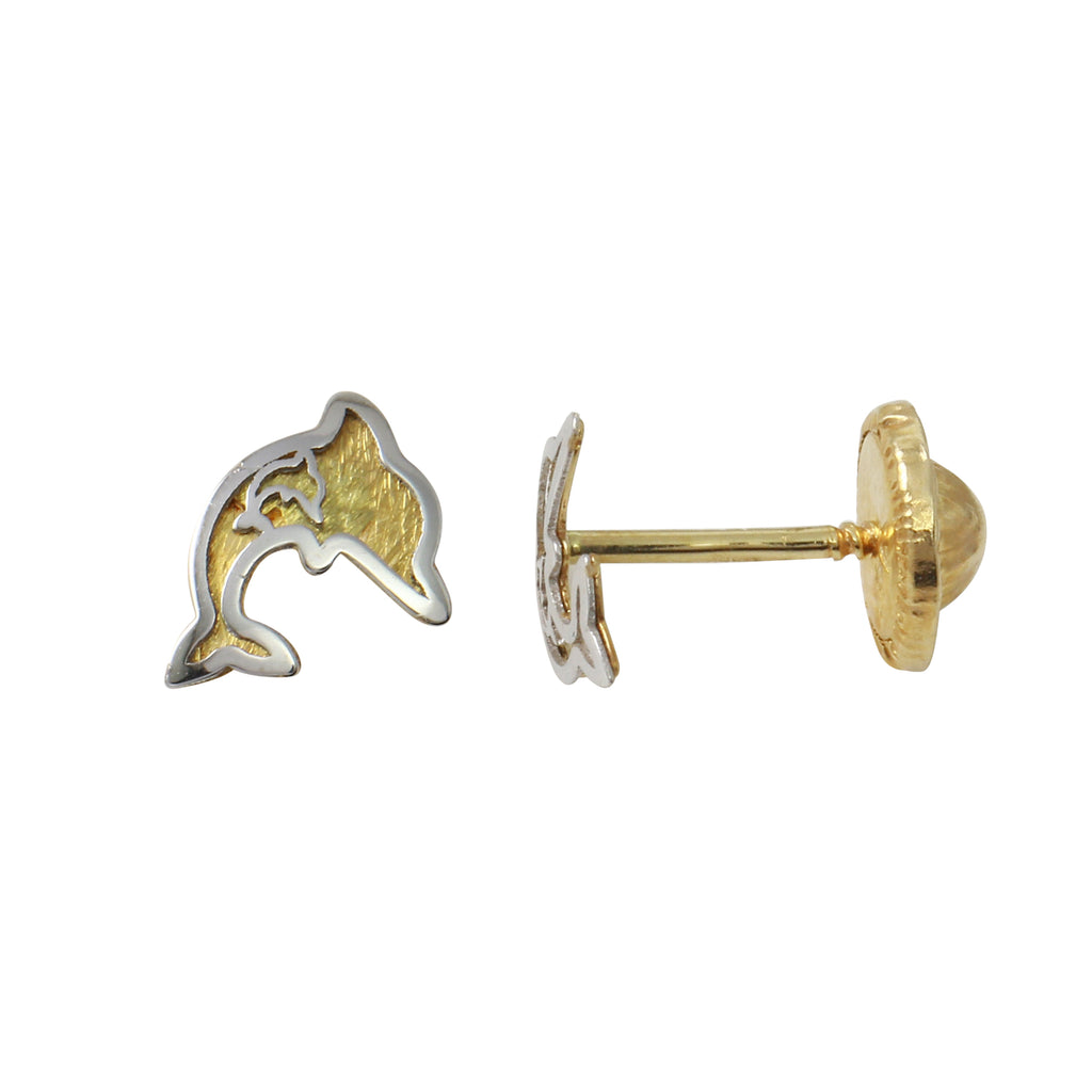 14k Two-Tone Gold Dolphin Baby Screw-Back Stud Earrings