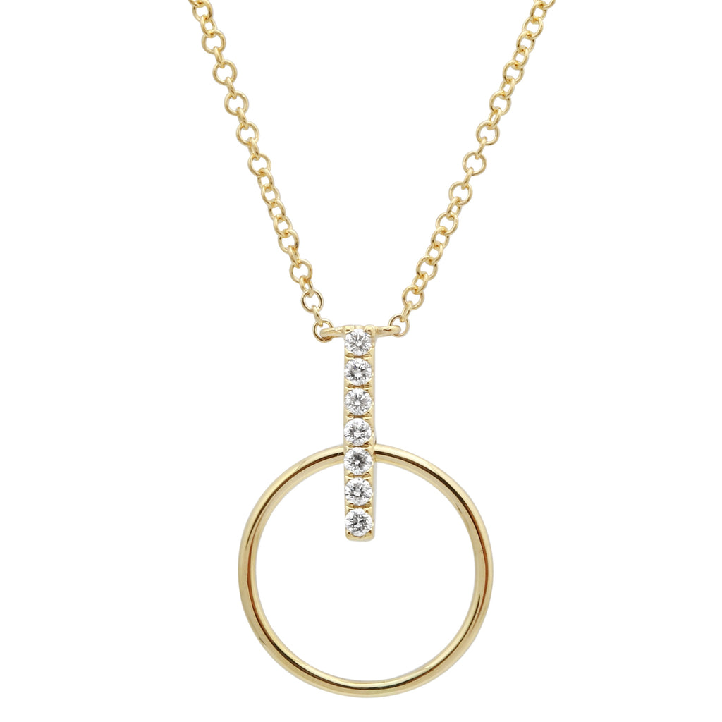 14k Yellow Gold Diamond Pave Circle Bar Pendant Necklace (1/20 cttw), 16+2""