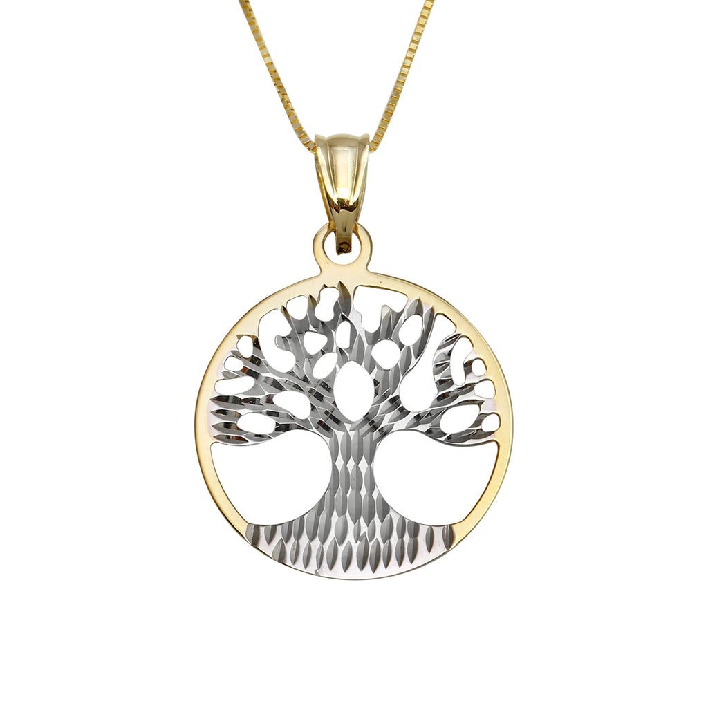 14k Two-Tone Gold Tree of Life Pendant Necklace, 18""