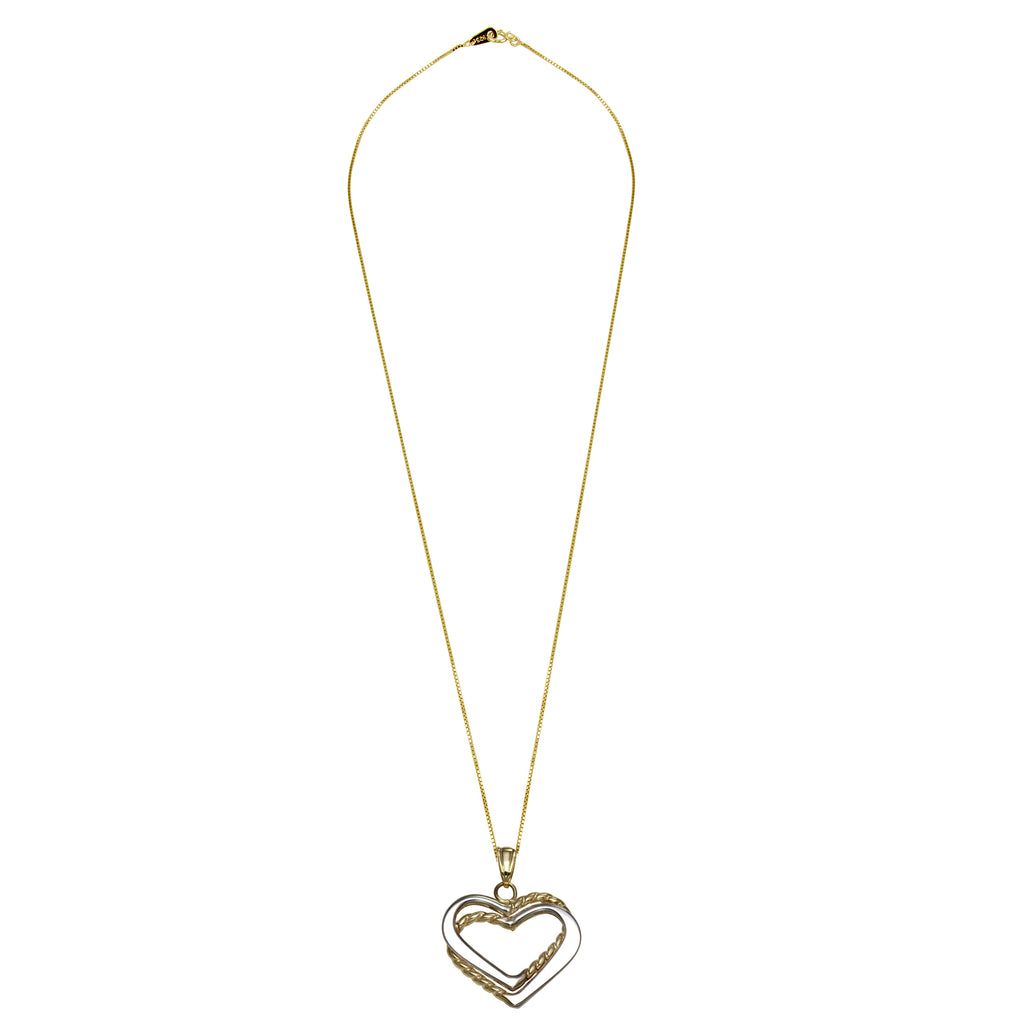14k Two-Tone Gold Double Layered Hearts Pendant Necklace, 18""