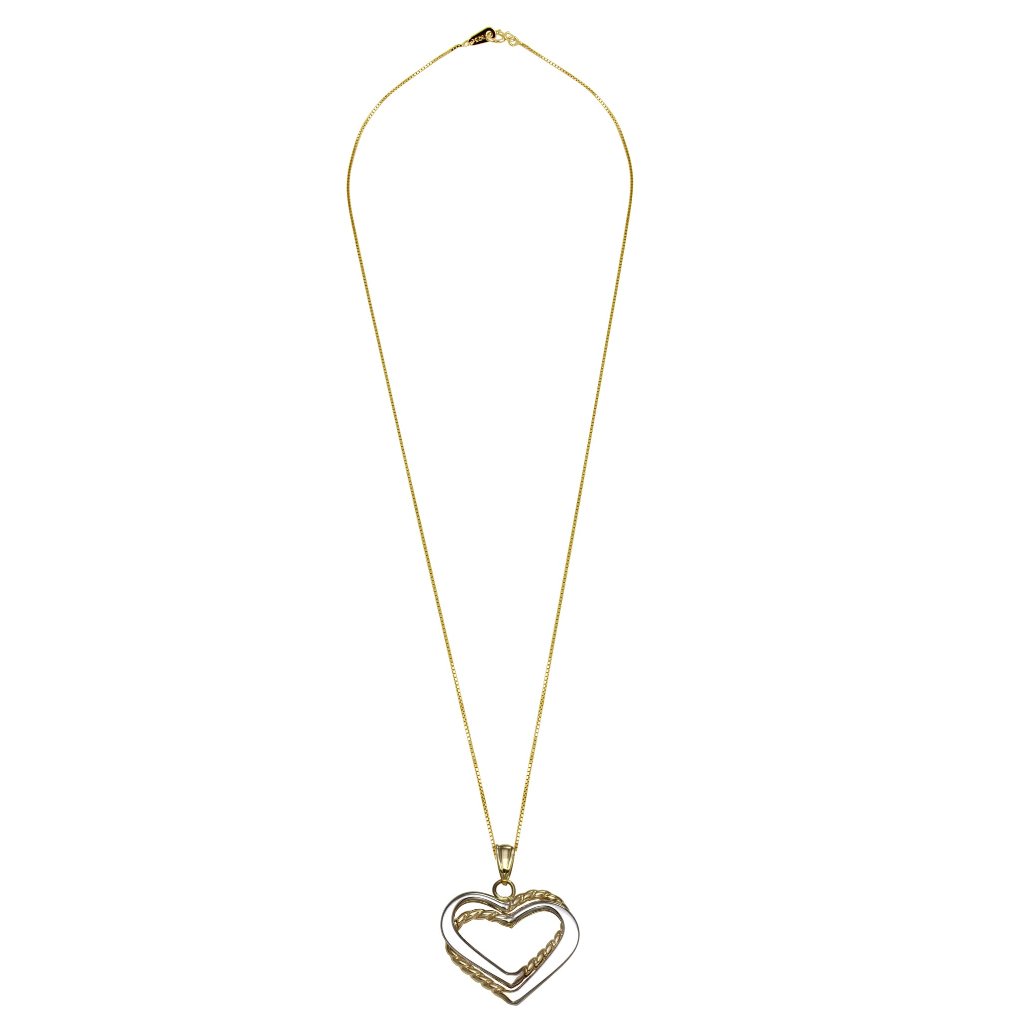 0db91ce36e657 14k Two-Tone Gold Double Layered Hearts Pendant Necklace, 18