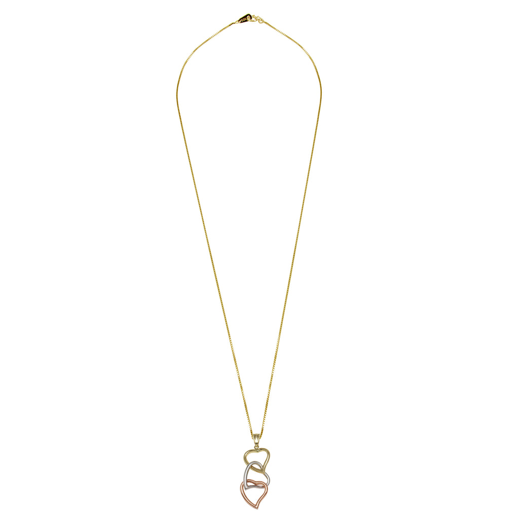 14k Tri-Color Gold Linked Dangling Hearts Pendant Necklace, 18""