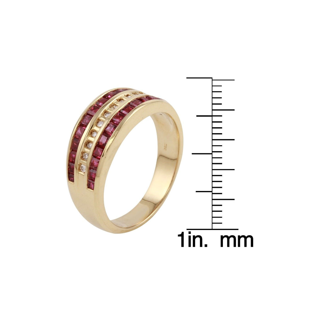 Womens Ruby and Diamond 18k Yellow Gold Ring