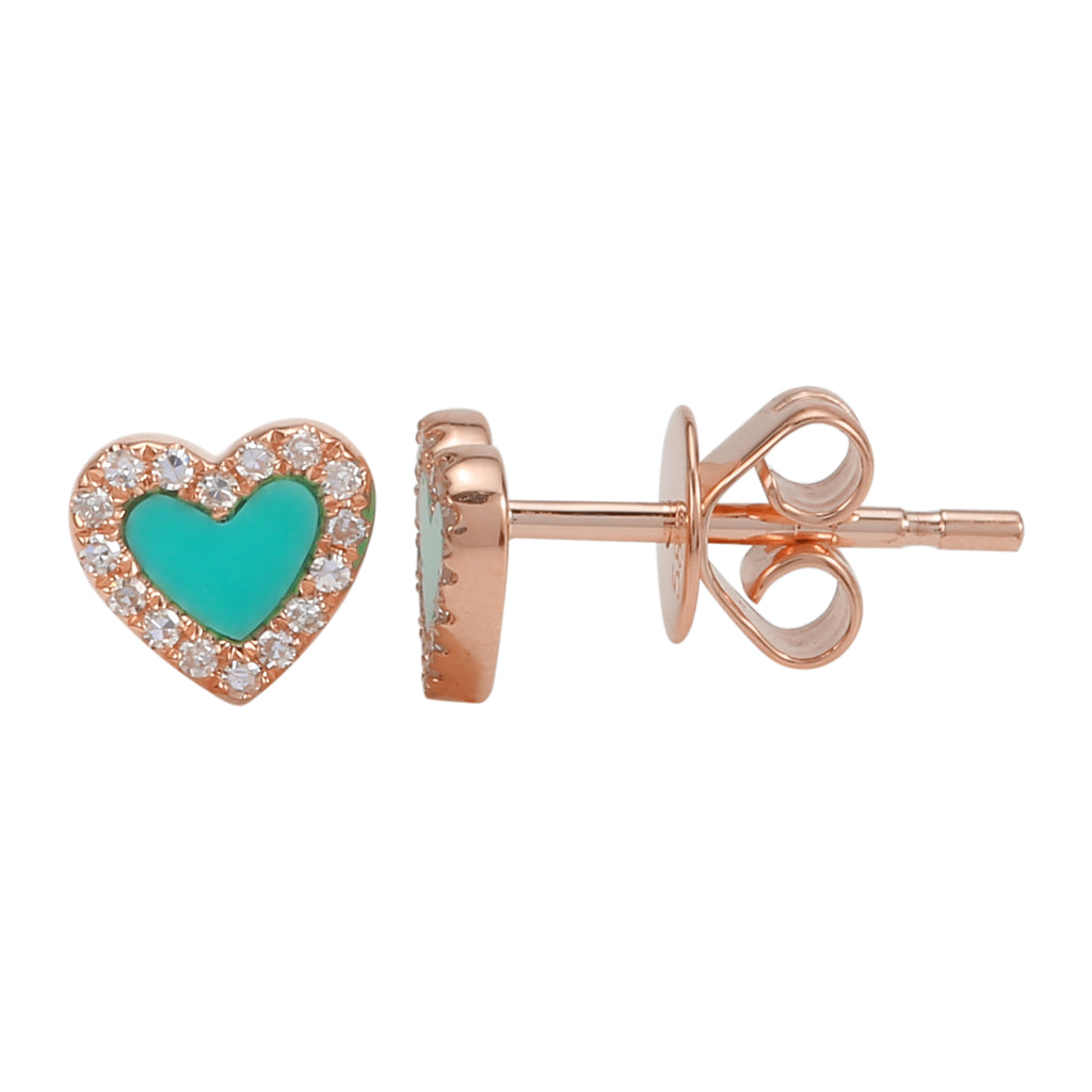 14k Rose Gold Diamond Turquoise Heart Stud Earrings (1/20 cttw, H-I Color, I2-I3 Clarity)