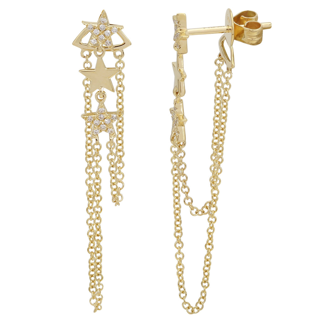 14k Yellow Gold Diamond Stars Dangle Link Chain Stud Earrings (1/20 cttw)