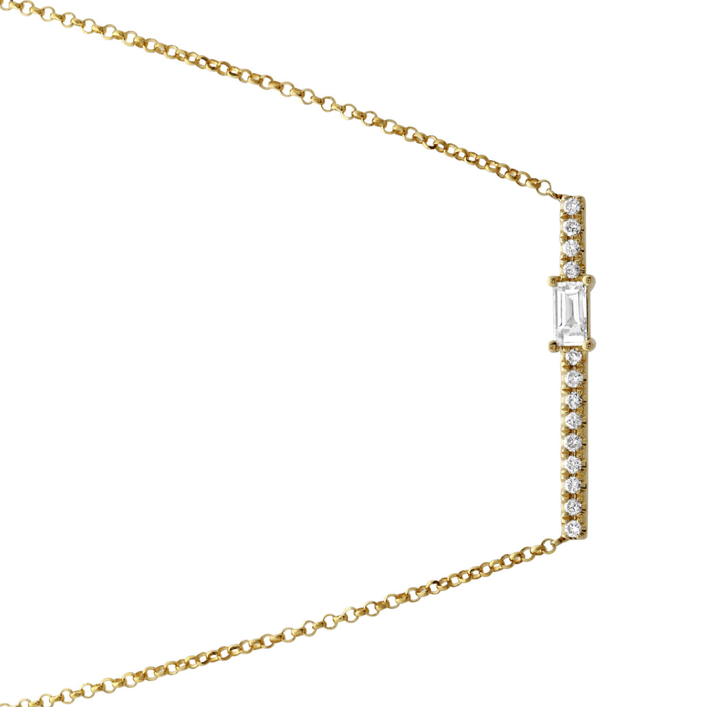 14k Yellow Gold Baguette Diamond Round Floating Bar Pendant Necklace (1/6 cttw), 16+2""