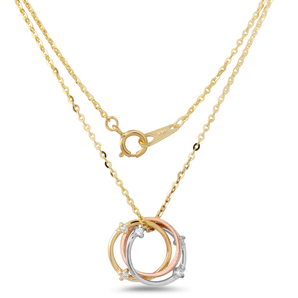 "14k Tri-Color Gold Diamond Circle Pendant Necklace, 18"" - Bee Jewels"
