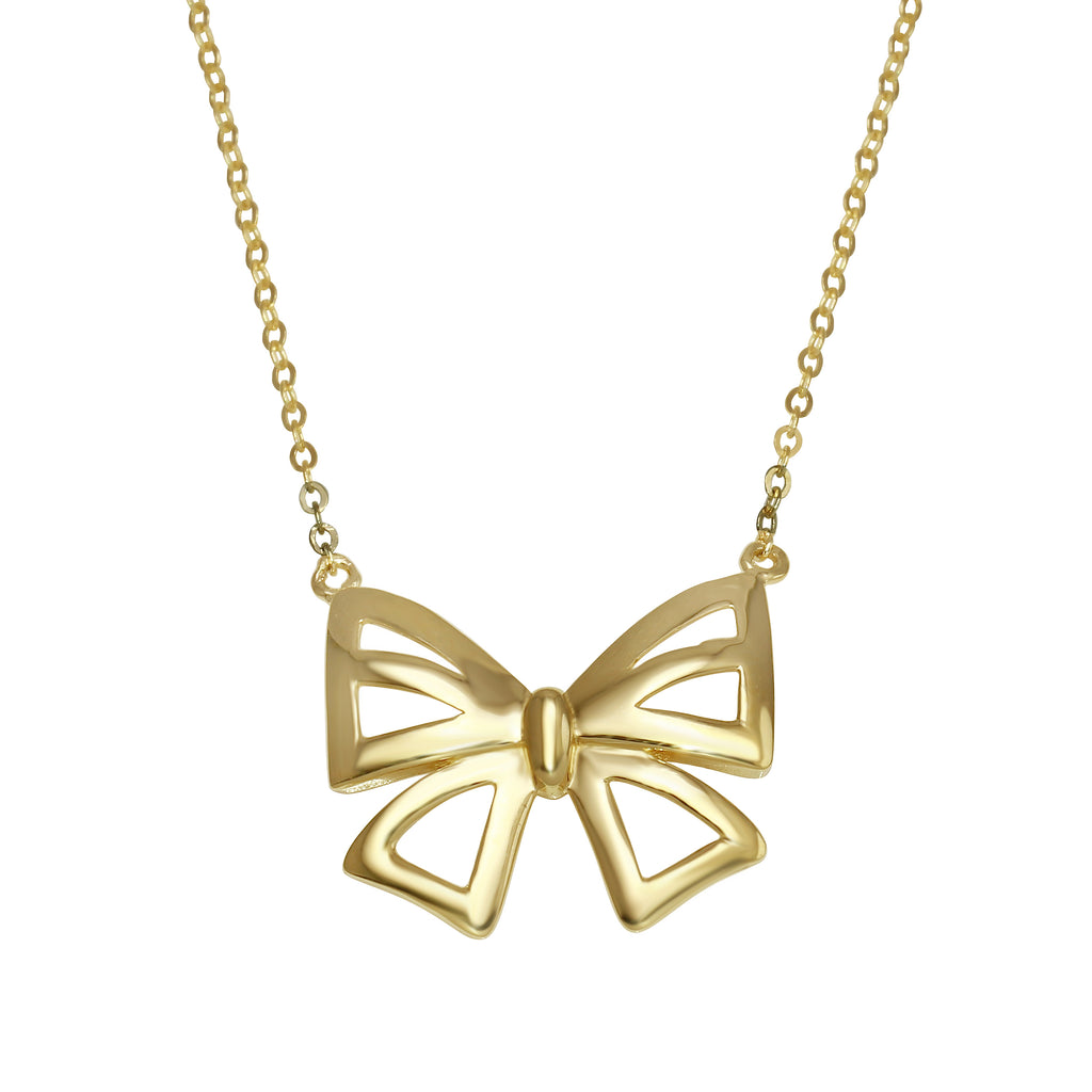 14k Yellow Gold Ribbon Bow Adjustable Pendant Necklace, 18""