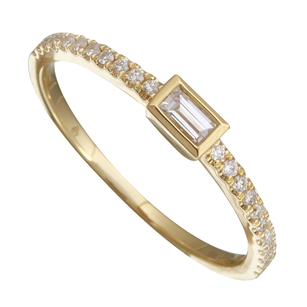 14k Yellow Gold Diamond Baguette Channel Solitaire Ring (1/5 carat)