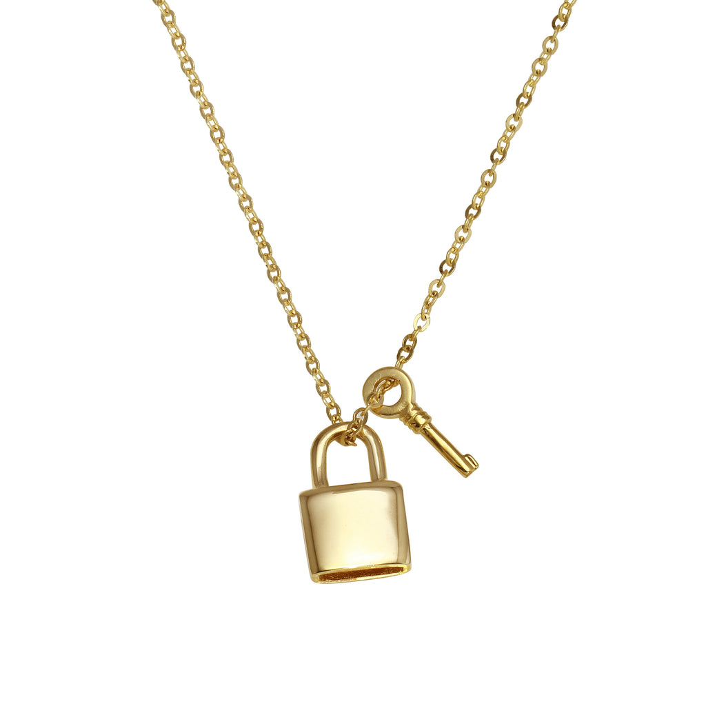 "14k Gold Sliding Lock and Key Charms Pendant Necklace, 18"" - Bee Jewels"