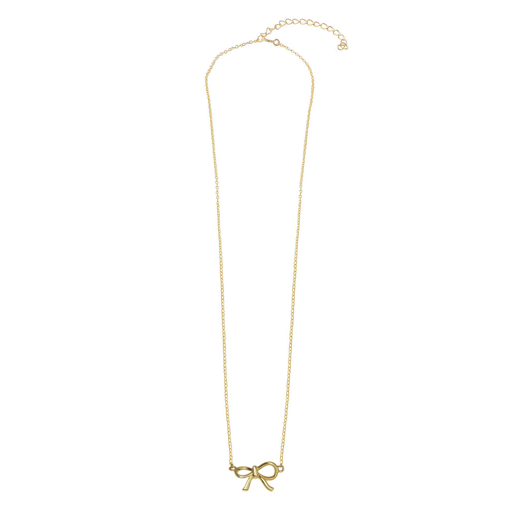 "14k Gold Suspended Ribbon Bow Charm Pendant Necklace, 18"" - Bee Jewels"