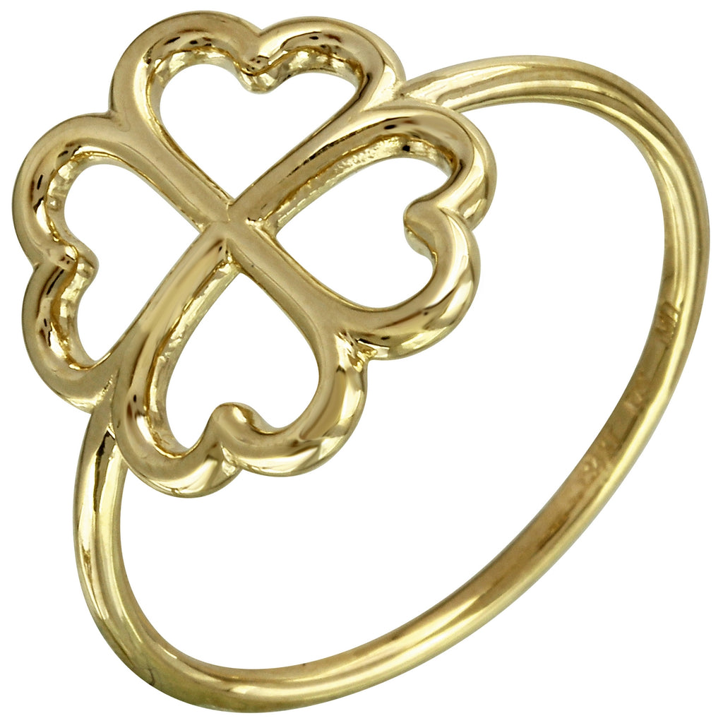 14k Italian Yellow Gold Clover Leaf Ring, Size 7
