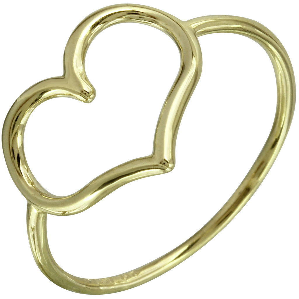 14k Italian Yellow Gold Heart Ring, Size 7