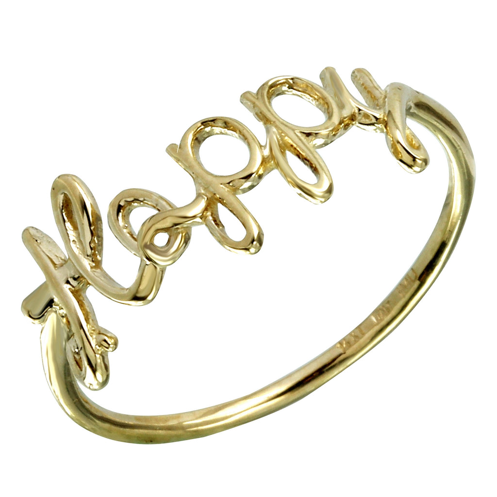 14k Gold Italian Happy Ring, Size 7 - Bee Jewels