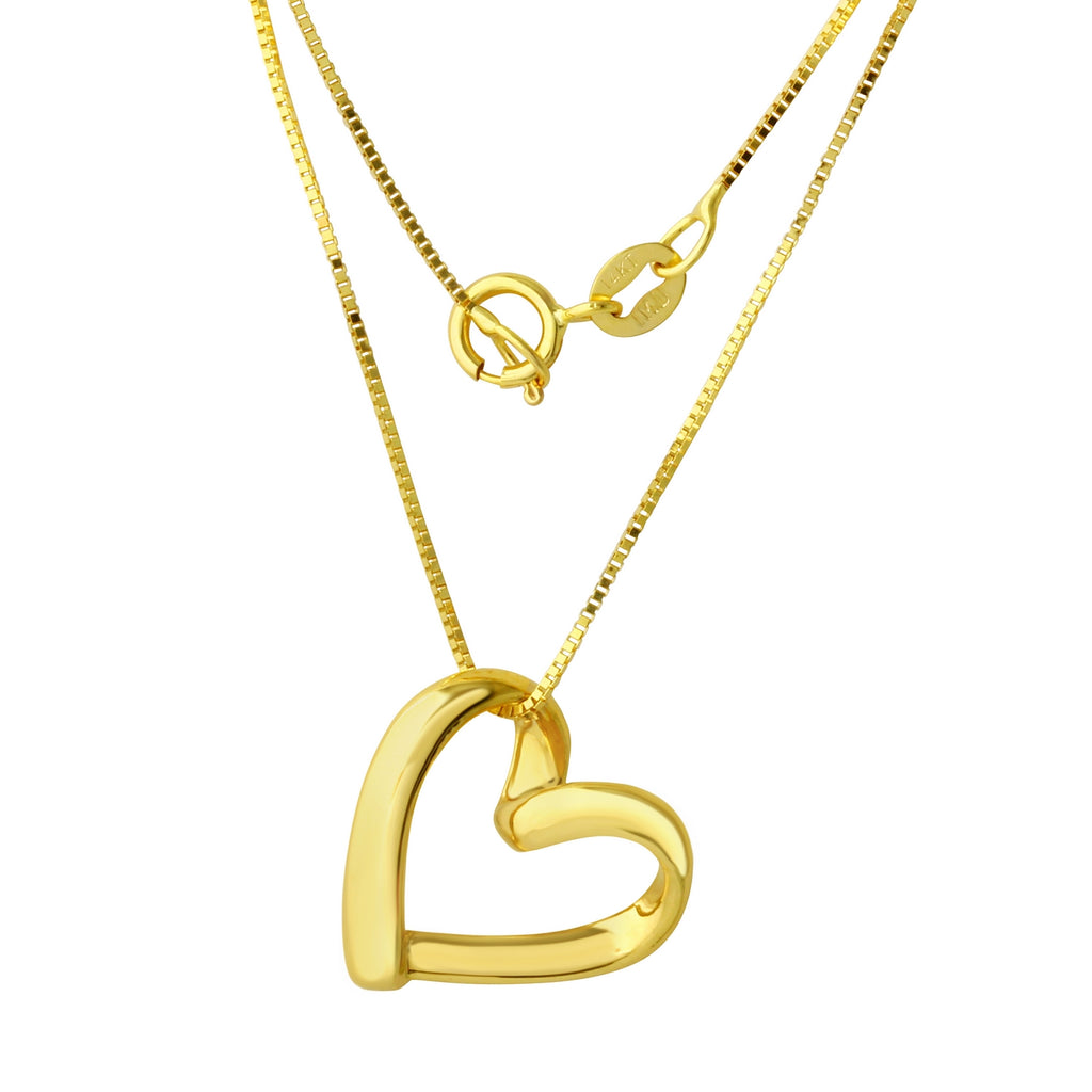 14k Yellow Gold Open Heart Pendant Necklace