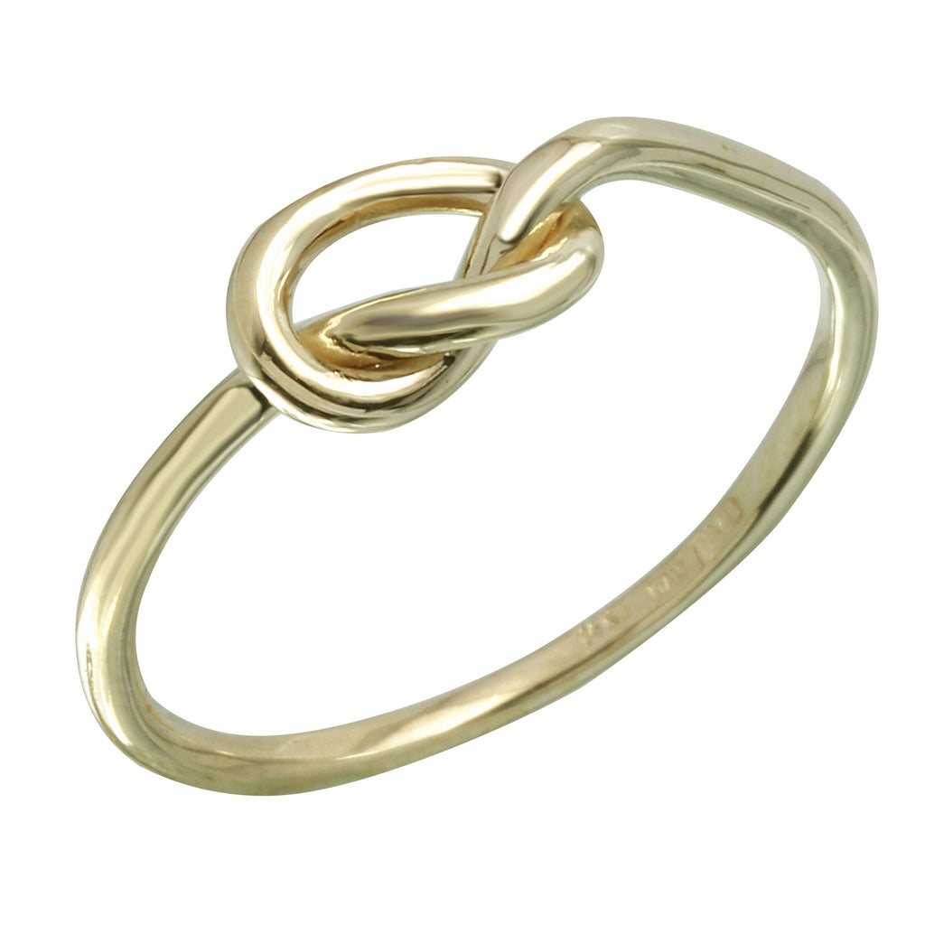 14k Italian Yellow Gold Love Knot Ring, Size 7