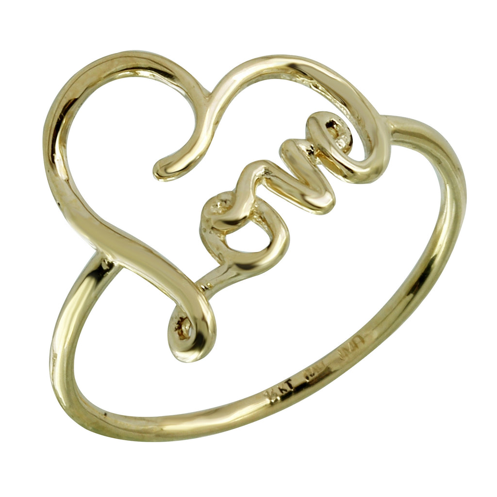 "14k Yellow Gold Italian ""Love"" Ring, Size 7"
