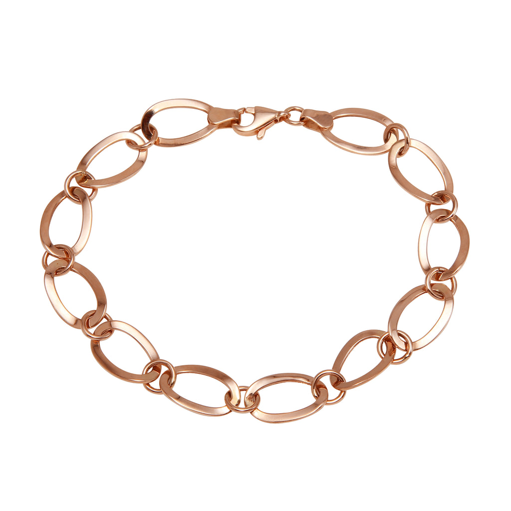 "14k Rose Gold High Shine Polished Link Bracelet, 7.75"" - Bee Jewels"