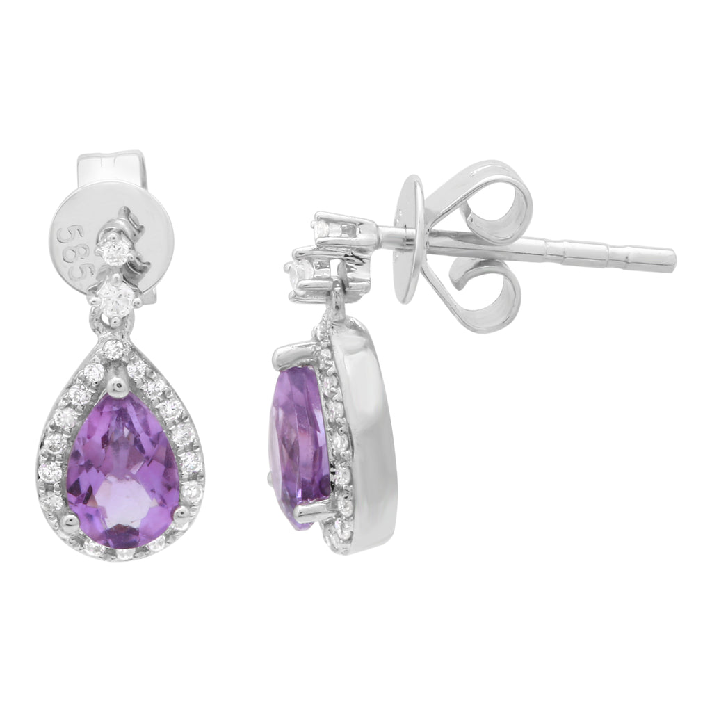 14k White Gold Diamond Amethyst Pear Drop Stud Earrings (1/10 cttw, H-I Color, I1-I2 Clarity)